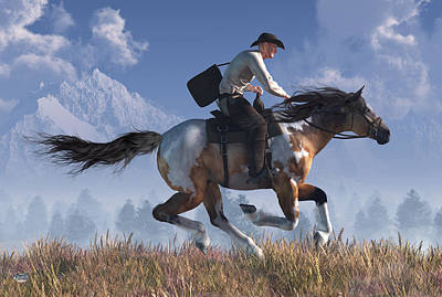 Digital Art - Pony Express Rider by Daniel Eskridge