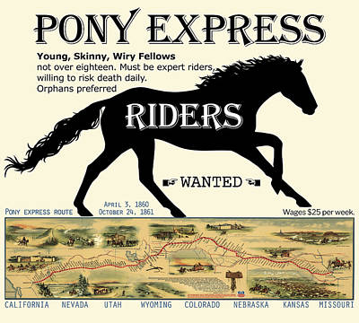 Digital Art - Pony Express Want Ad by Lisa Redfern