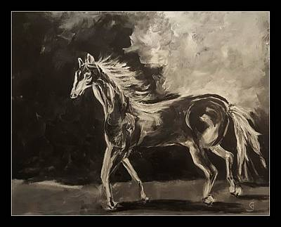 Painting - Pony Sketch In Black And White by Cheryl Nancy Ann Gordon