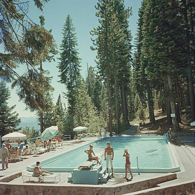 Full Length Photograph - Pool At Lake Tahoe by Slim Aarons