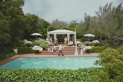 Swimming Photograph - Poolside Drinks by Slim Aarons
