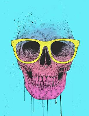 Mixed Media - Pop Art Skull With Glasses by Balazs Solti