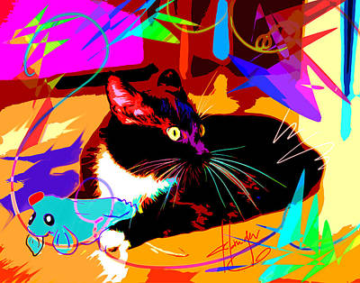 Painting - pOp Cat and Mouse by DC Langer