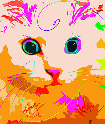 Painting - Pop Cat Creamsicle by DC Langer