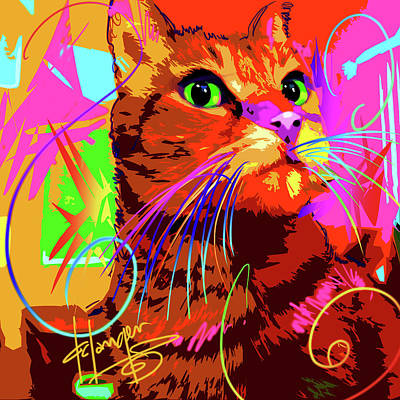 Painting - pOp Cat Kasey by DC Langer