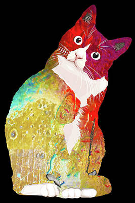 Painting - Pop Cat Kitten Kitty Feline Cat Mom Pets Gift Funny Rainbow by Tony Rubino
