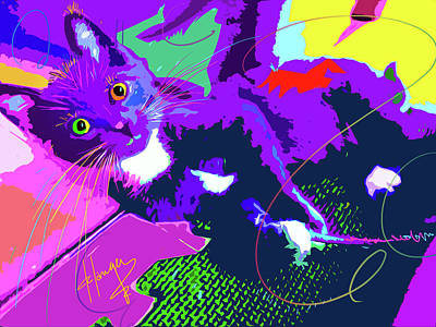 Painting - Pop Cat Kitten With String by DC Langer