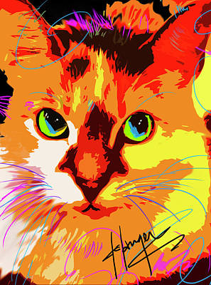 Painting - Pop Cat Lily by DC Langer