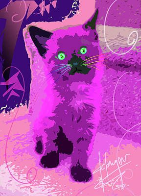 Painting - Pop Cat Sparky by DC Langer