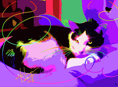 Painting - Pop Cat Stitch by DC Langer