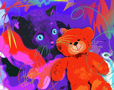 Painting - pOp Cat Teddy And His Teddy by DC Langer