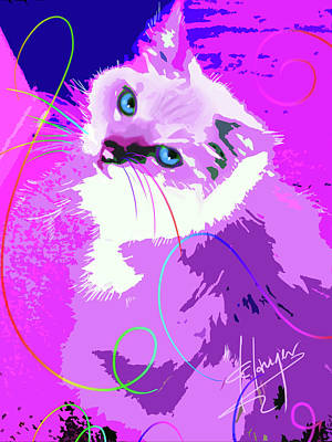 Painting - Pop Cat Tiffany by DC Langer