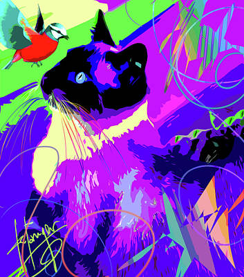 Painting - pOpCat and Bird by DC Langer