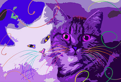 Painting - pOpCat Best Friends by DC Langer