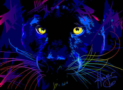 Painting - pOpCat Black Panther by DC Langer