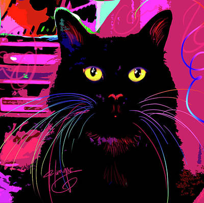 Painting - pOpCat Morticia by DC Langer