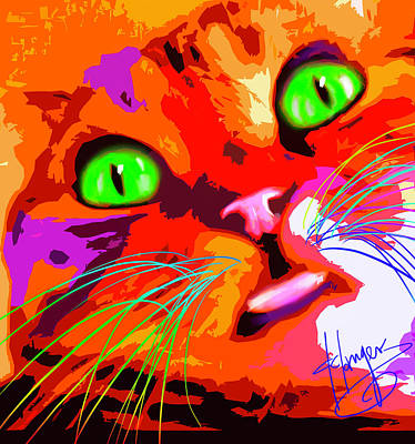 Painting - pOpCat Selfie Samantha by DC Langer