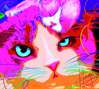 Painting - pOpCats Mama Gina and Baby Gino by DC Langer