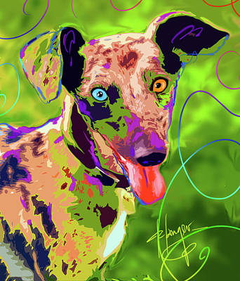 Painting - pOpDog Blue by DC Langer