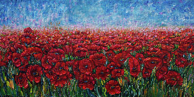 Photograph - Poppy Field Palette Knife Painting By Olena Art  by OLena Art