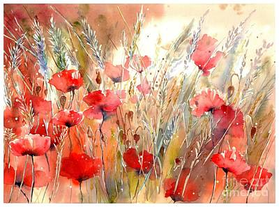 New England Painting - Poppy Fields Forever by Suzann's Art