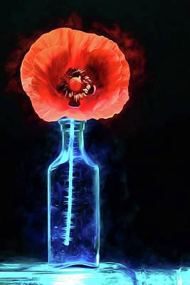 Digital Art - Poppy In A Vintage Blue Bottle by JC Findley