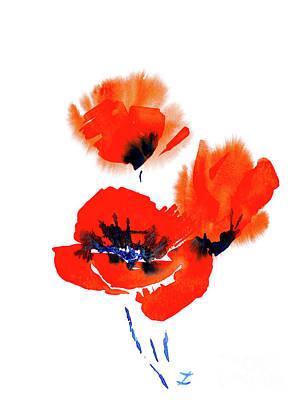 Painting - Poppy Trio by Zaira Dzhaubaeva