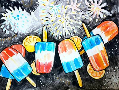 Painting - Popsicles And Fireworks by Tilly Strauss
