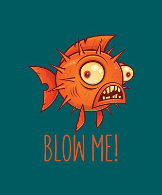 Royalty-Free and Rights-Managed Images - Porcupine Blowfish Cartoon - Blow Me by John Schwegel