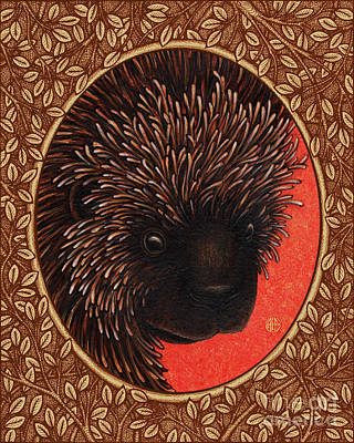 Painting - Porcupine Portrait - Brown Border by Amy E Fraser