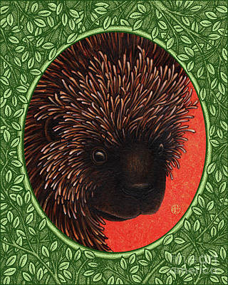 Painting - Porcupine Portrait - Green Border by Amy E Fraser