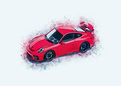 Digital Art - Porsche 911 Art by Ian Mitchell