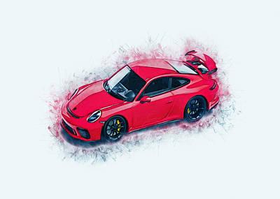 Digital Art - Porsche 911 Art by Ian Mitchell