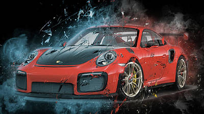 Digital Art - Porsche 911 Gt2 by Max Huber