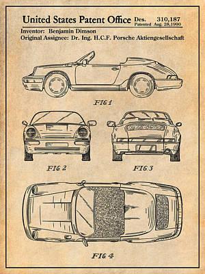 Super Cars Drawing - Porsche 911 Patent Print Antique Paper by Greg Edwards