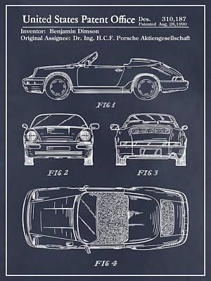 Super Cars Drawing - Porsche 911 Patent Print Blackboard by Greg Edwards