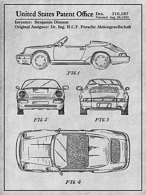 Super Cars Drawing - Porsche 911 Patent Print Gray by Greg Edwards