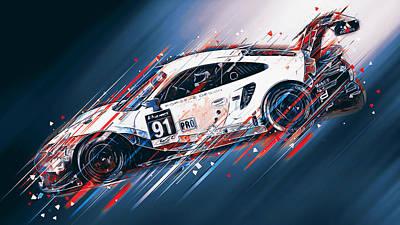 Digital Art - Porsche 911 Rsr  - 01 by Andrea Mazzocchetti