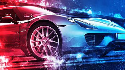 Digital Art - Porsche 918 Hybrid - 50 by Andrea Mazzocchetti