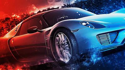 Digital Art - Porsche 918 Hybrid - 53 by Andrea Mazzocchetti