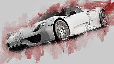 Painting - Porsche 918 Hybrid - 54 by Andrea Mazzocchetti