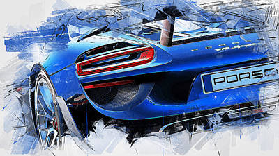 Painting - Porsche 918 Hybrid - 55 by Andrea Mazzocchetti