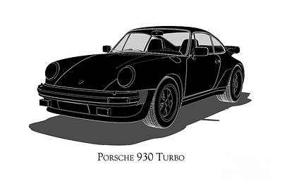 Digital Art - Porsche 930 Turbo - Front View by David Marchal