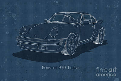 Digital Art - Porsche 930 Turbo - Front View - Stained Blueprint by David Marchal