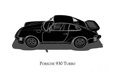 Digital Art - Porsche 930 Turbo - Side View by David Marchal