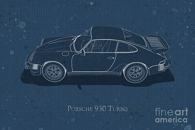 Digital Art - Porsche 930 Turbo - Side View - Stained Blueprint by David Marchal