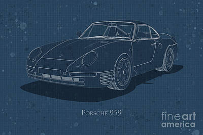 Digital Art - Porsche 959 - Front View - Stained Blueprint by David Marchal