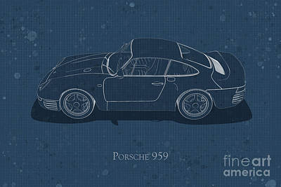 Digital Art - Porsche 959 - Side View - Stained Blueprint by David Marchal