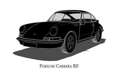 Digital Art - Porsche Carrera Rs - Front View by David Marchal