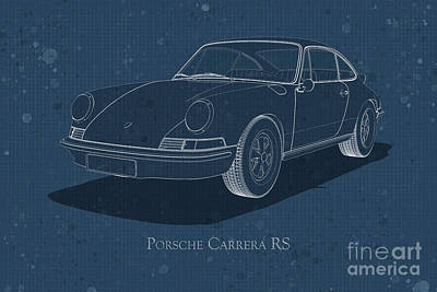 Digital Art - Porsche Carrera Rs - Front View - Stained Blueprint by David Marchal